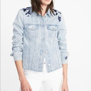 Old Navy Jean Jacket with Flower Embroidery
